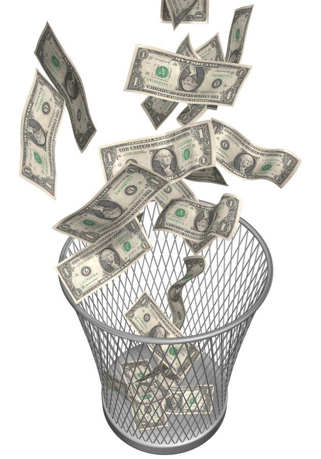 美元废字纸篓 向量例证