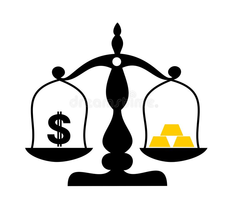 美元当法定货币对金黄金块由金子制成 向量例证