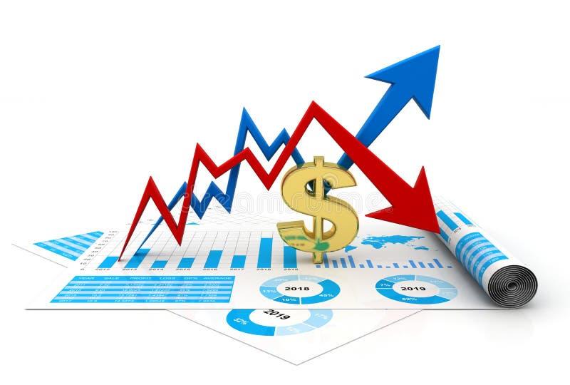 美元成长和损失概念 3d回报 皇族释放例证