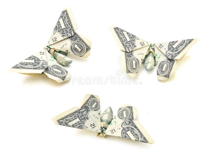 美元折叠了origami样式入在白色背景的一只蝴蝶 图库摄影