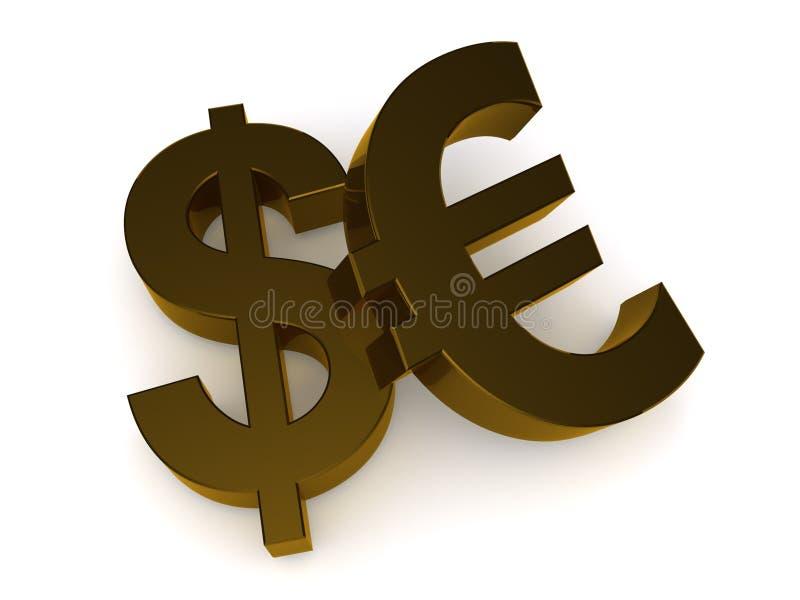 美元欧元符号 皇族释放例证