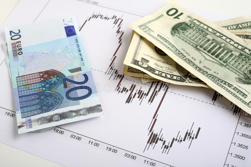 美元欧洲外汇贸易 免版税库存照片