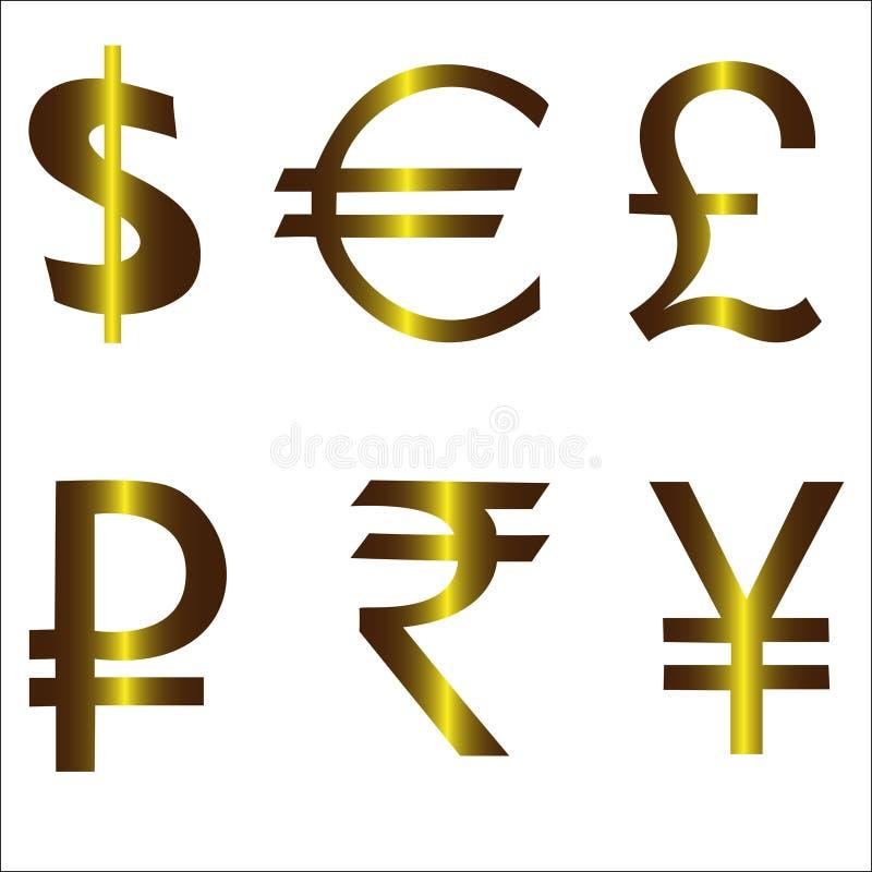 美元欧洲镑卢布日元元 皇族释放例证