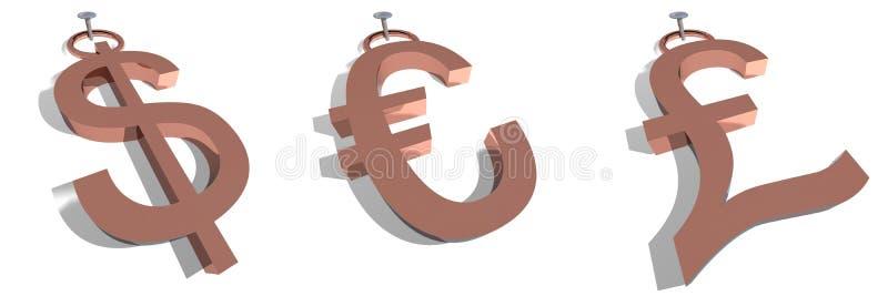 美元欧洲镑标签 向量例证