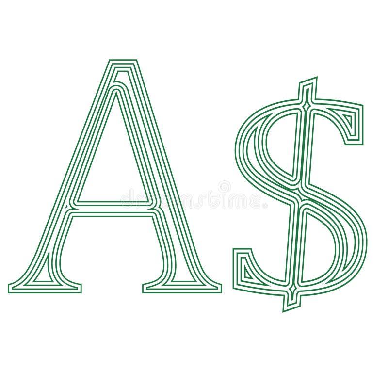 美元澳大利亚货币符号象传染媒介例证 库存例证