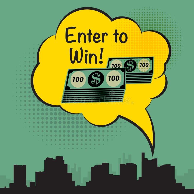 美元现金金钱标志和文本输入赢得 库存例证