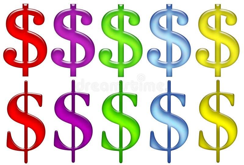 美元玻璃光学符号 向量例证