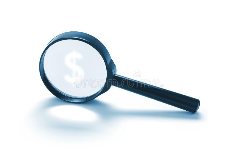 美元玻璃扩大化的符号 免版税库存照片