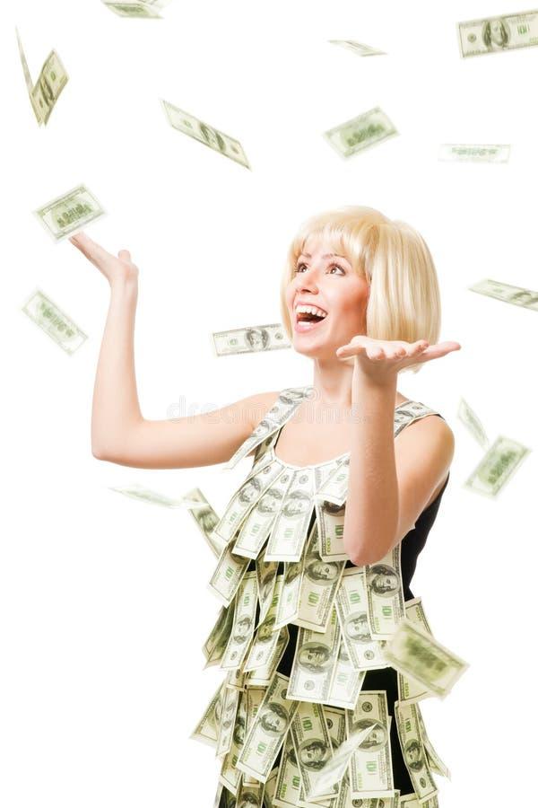 美元百万名雨妇女被赢取 免版税库存照片