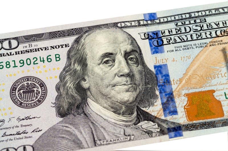 从100美元的本杰明・富兰克林画象钞票 库存照片