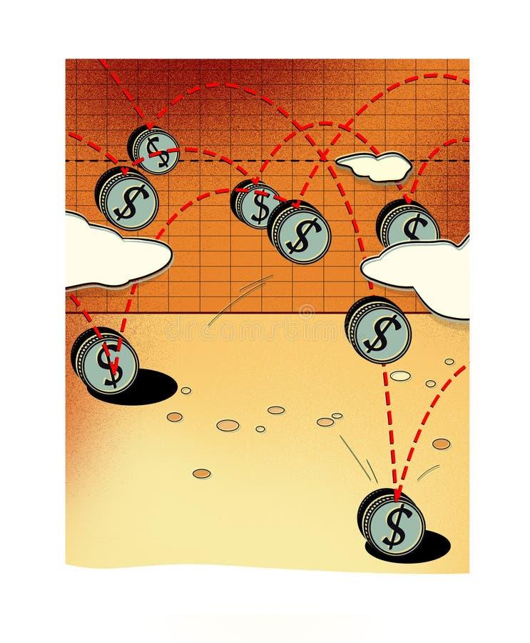 美元的波动 与美元的符号的一枚硬币弹起桌并且跌倒 库存例证