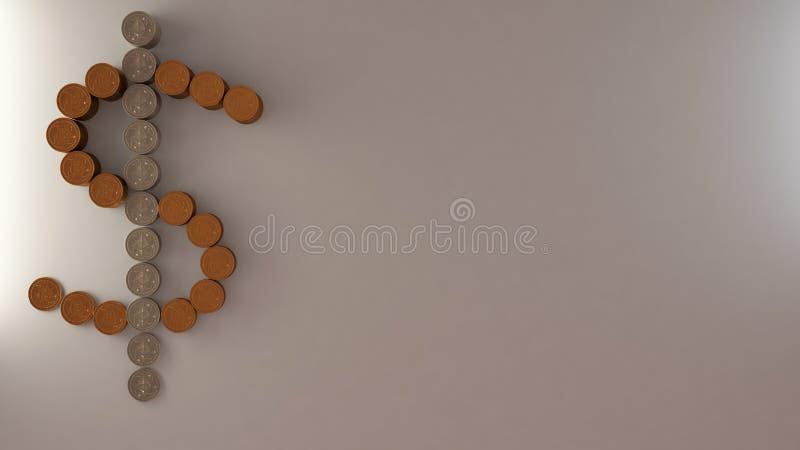 美元的符号由金黄和银色物理硬币、cryptocurrencies、Bitcoin和Ethereum,开采的cryptocurrency概念制成,白色 免版税库存图片