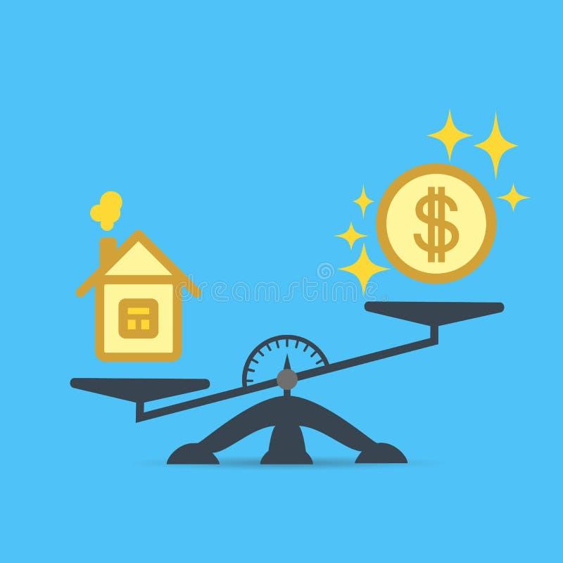 美元硬币和一个房子等级的 金钱和房子标度象 房地产,租,费用 向量 向量例证