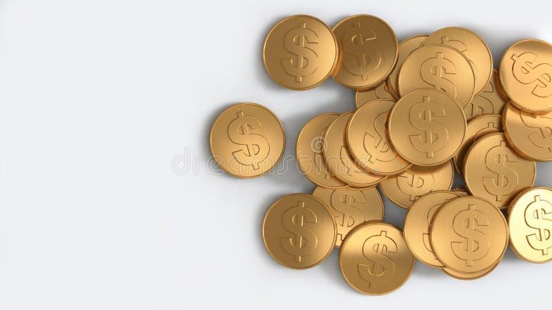 美元硬币堆金子顶视图白色背景3d回报 皇族释放例证