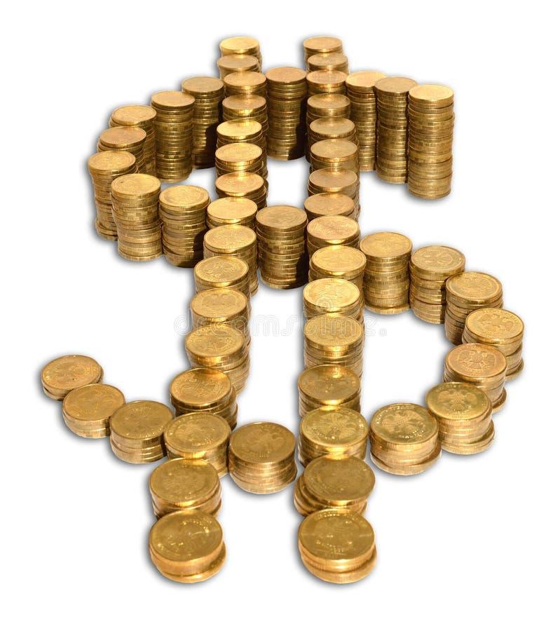 美元硬币标志 免版税库存照片