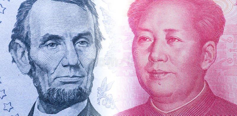 美元票据和中国元 库存照片