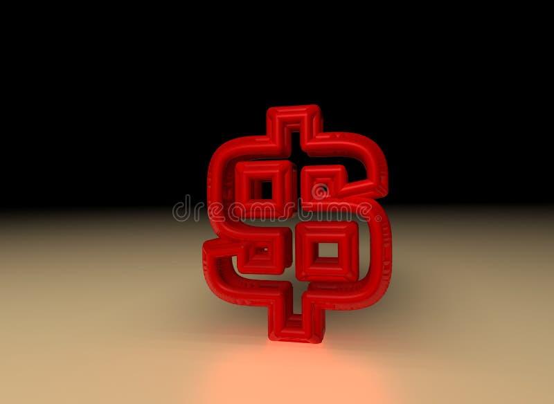 美元红色符号 库存例证