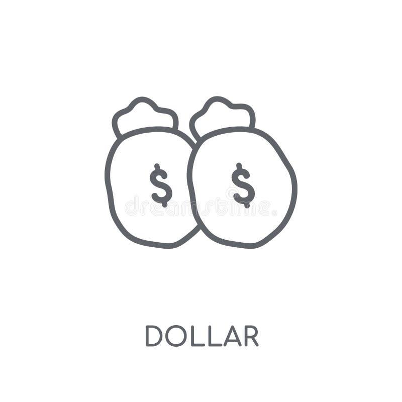 美元线性象 在白色的现代概述美元商标概念 向量例证