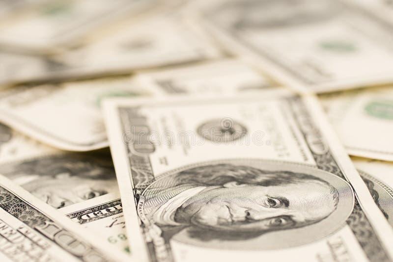 美元背景,一百张美国美元钞票票据,许多 免版税库存图片