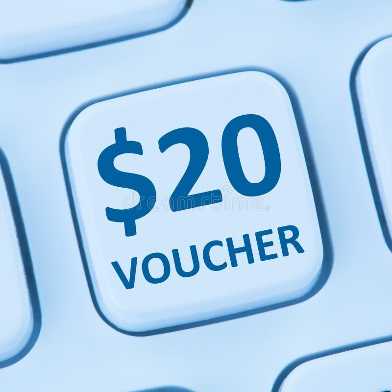 20美元证件礼物折扣销售网上购物互联网st 免版税库存图片