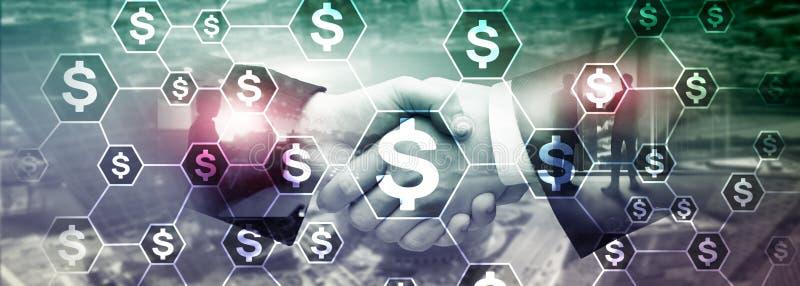 美元象,金钱网络结构 ICO、贸易和投资 Crowdfunding 库存图片