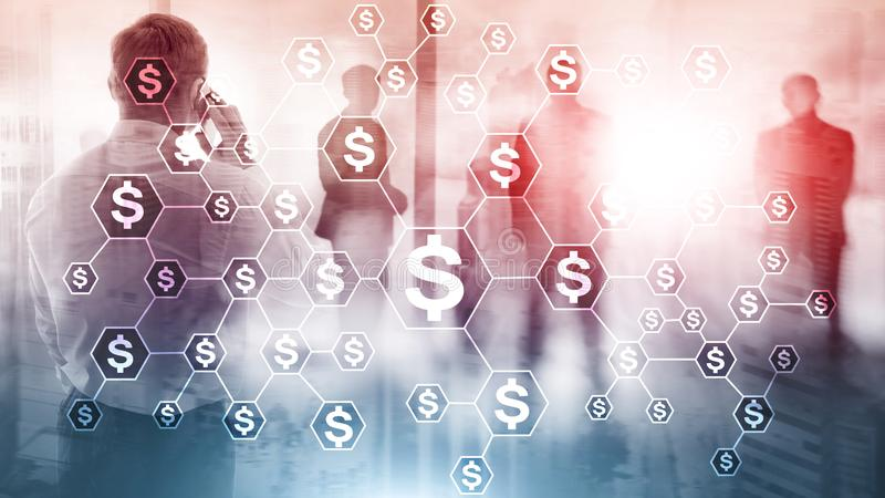 美元象,金钱网络结构 ICO、贸易和投资 Crowdfunding 向量例证