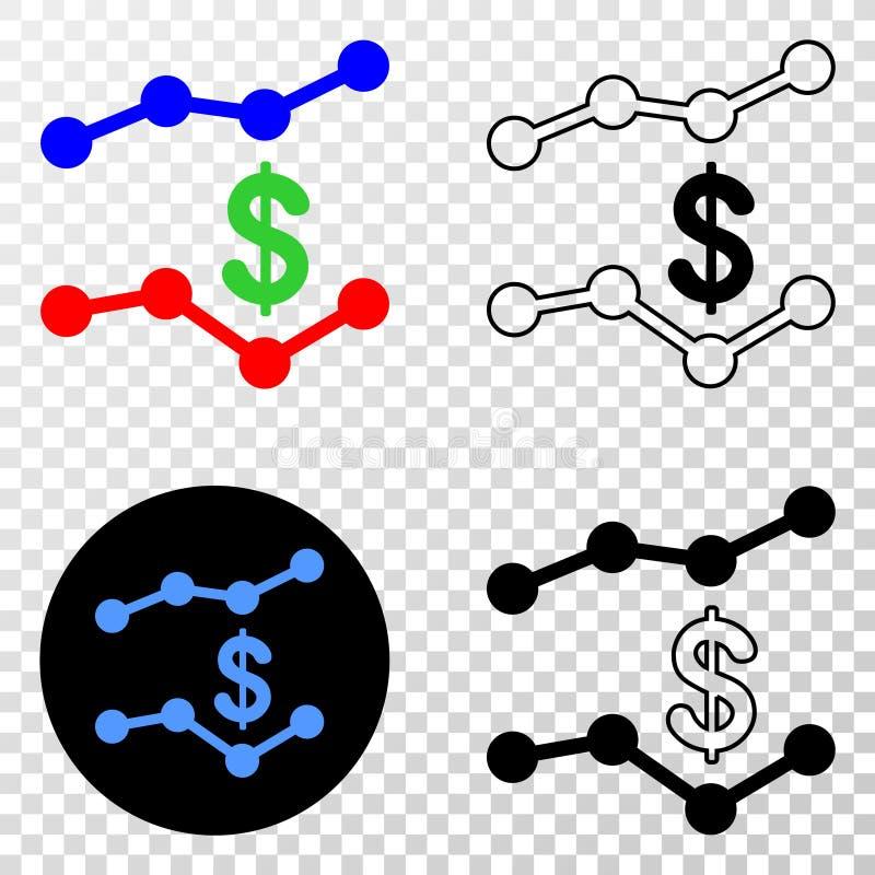 美元趋向图导航与等高版本的EPS象 向量例证