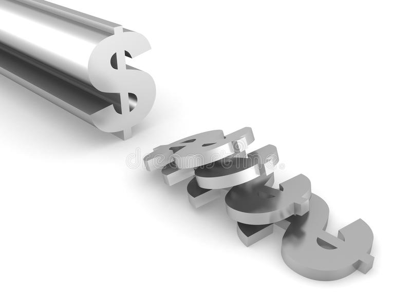 美元金属利润符号固体突出空白 向量例证