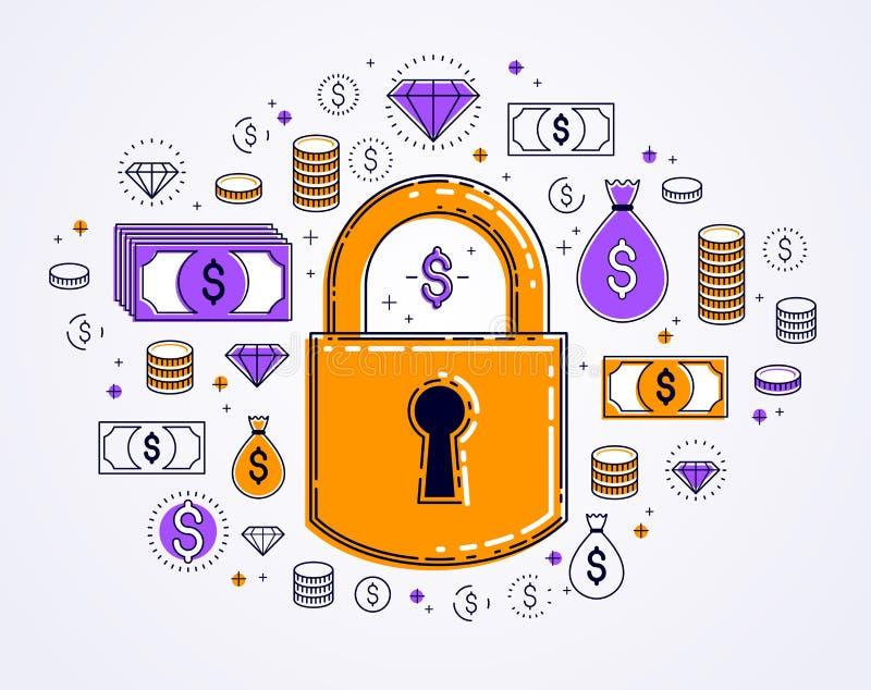 美元金钱象集合围拢的挂锁锁,电子货币保护概念,储款保险,安全事务,个人 皇族释放例证