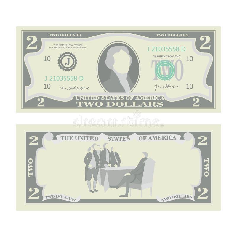 2美元钞票传染媒介 动画片美国货币 两个美国人金融法案例证的双方 现金标志 向量例证