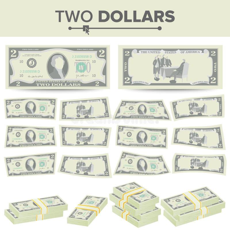 2美元钞票传染媒介 动画片美国货币 两个美国人金融法案被隔绝的例证的双方 现金标志 库存例证