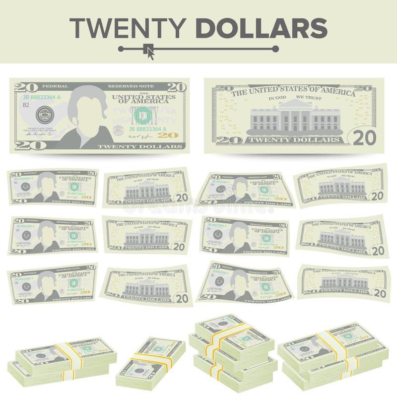 20美元钞票传染媒介 动画片美国货币 二十个美国人金融法案被隔绝的例证的双方 现金 皇族释放例证