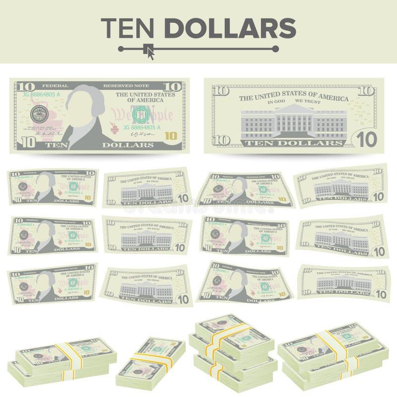 10美元钞票传染媒介 动画片美国货币 十个美国人金融法案被隔绝的例证的双方 现金标志 向量例证