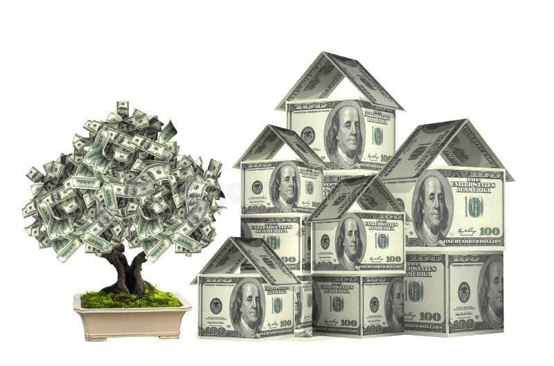 从美元钞票和金钱树的三个房子 免版税库存照片