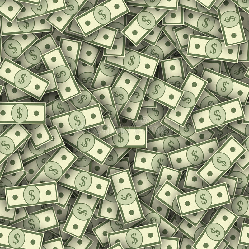 美元钞票堆无缝的纹理 皇族释放例证