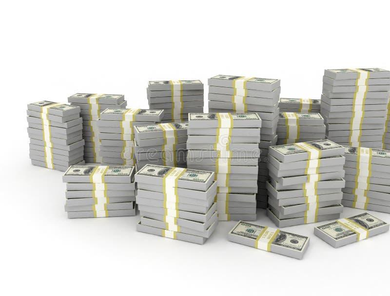 美元钞票堆 库存例证