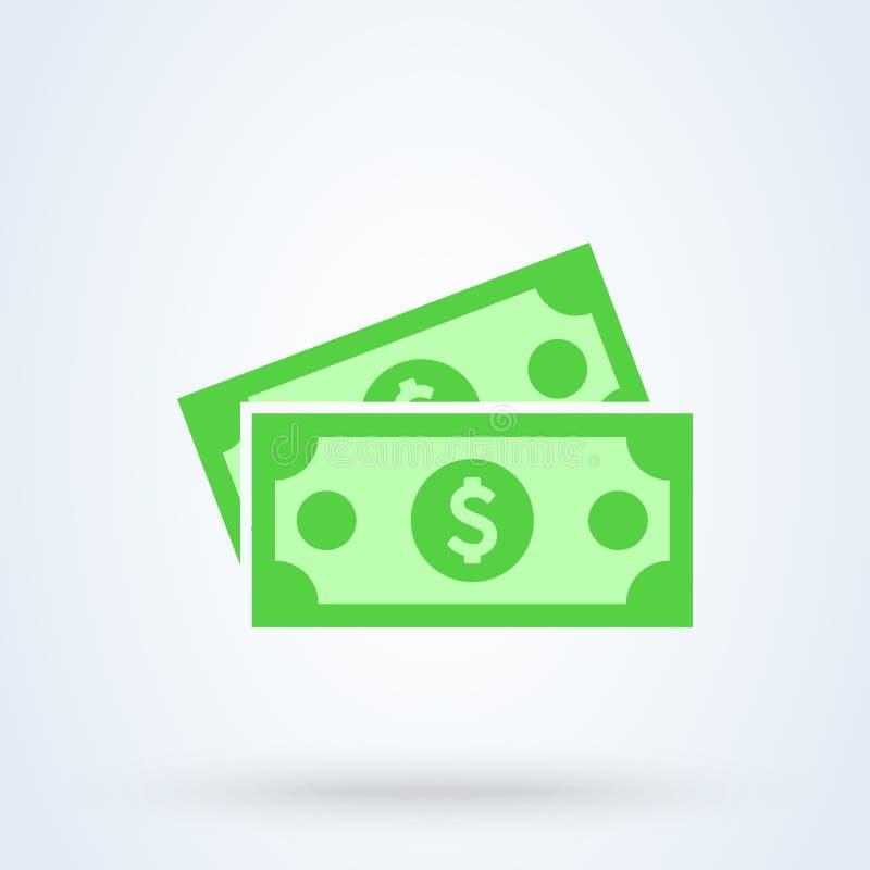 美元钞票平的样式 传染媒介在白色背景隔绝的例证象 向量例证