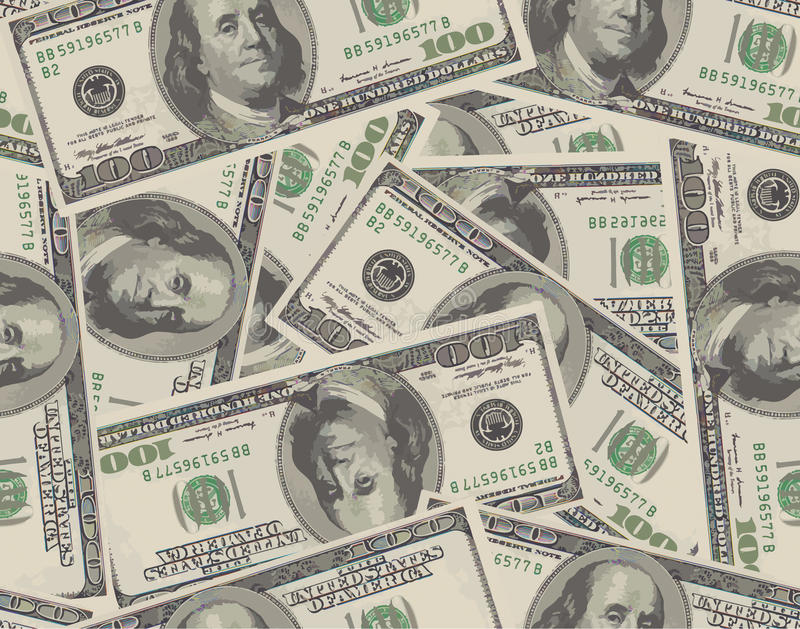 从100美元钞票的无缝的背景 皇族释放例证