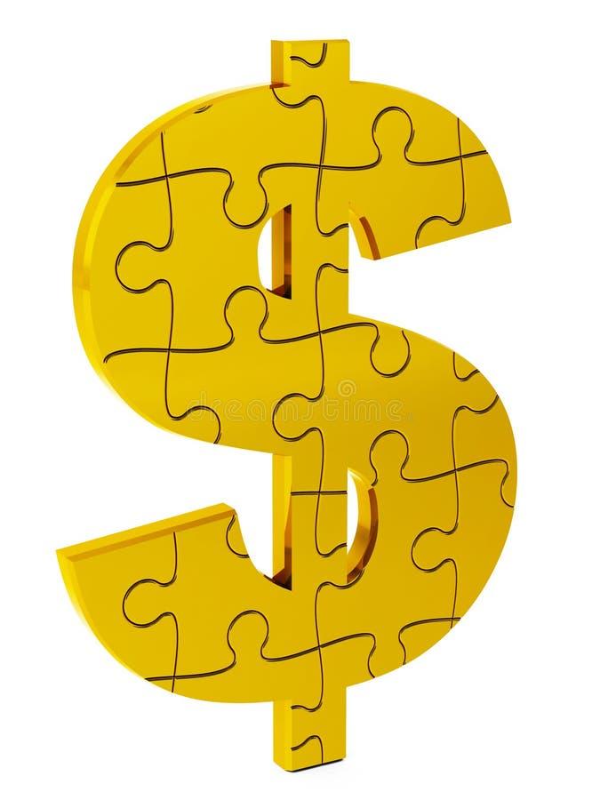美元难题、金子和固体 库存照片