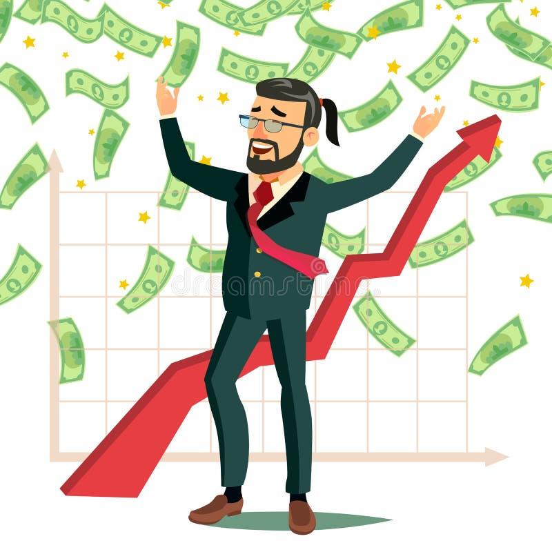 美元雨商人传染媒介 雨钞票现金 现有量上升了 富有和成功 被隔绝的平的漫画人物 库存例证