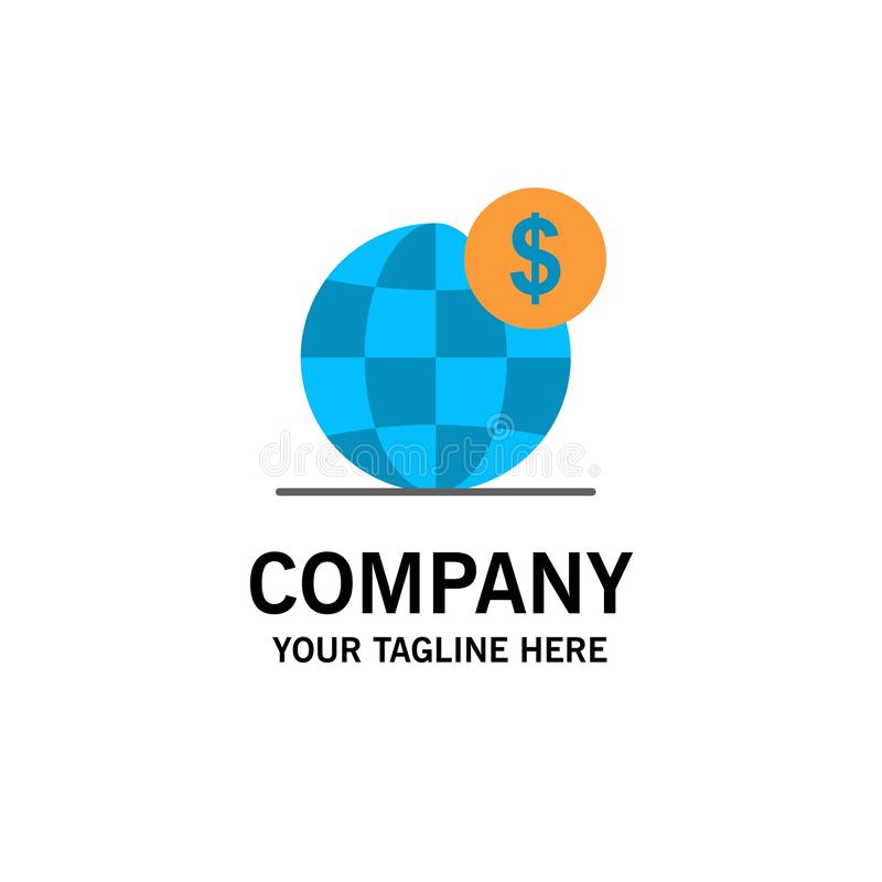 美元,全球性,事务,地球,国际企业商标模板 o 向量例证