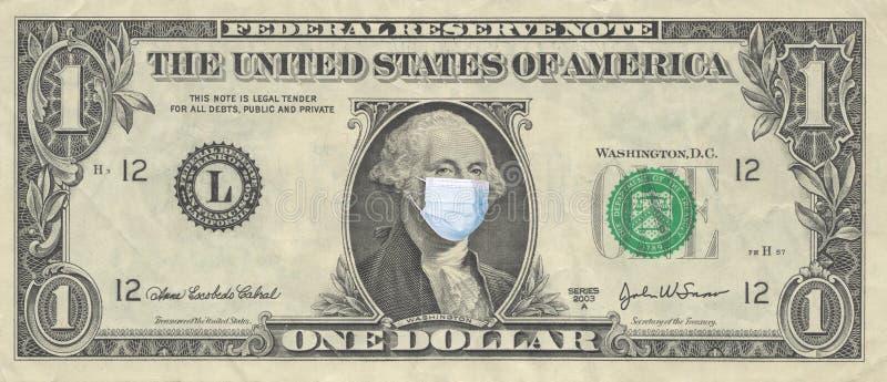 1美元,戴面具 世界金融危机 戴面具的总统画像 流行性冠状病毒COVID-19概念 库存照片