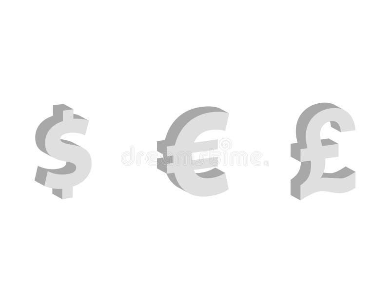 美元,欧元,英镑平的象,货币符号,财务传染媒介例证 皇族释放例证