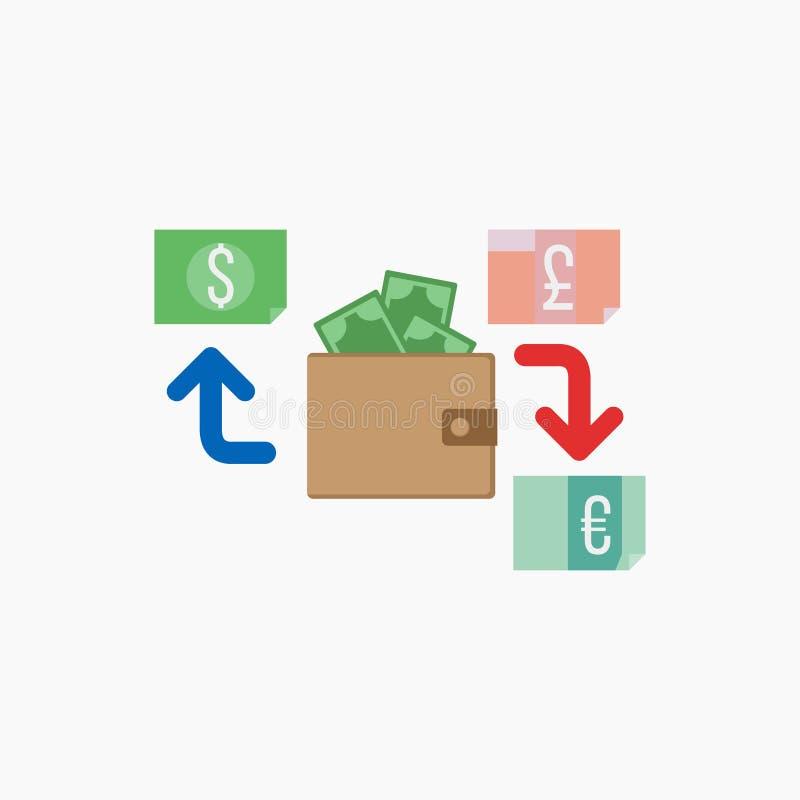 美元,欧洲 现金和金钱,财富,付款标志 也corel凹道例证向量 10 eps 库存例证
