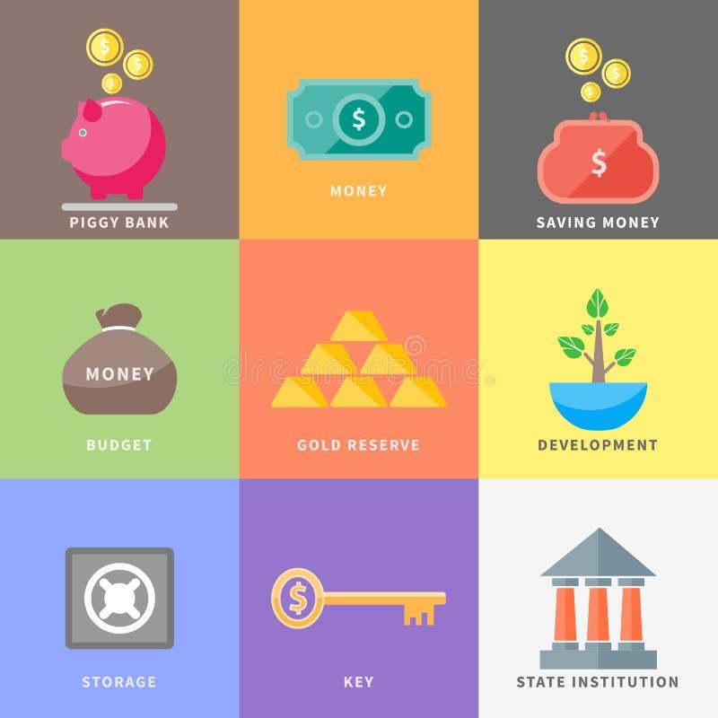 美元,金钱树,钱包,硬币箱猪,银行 向量例证