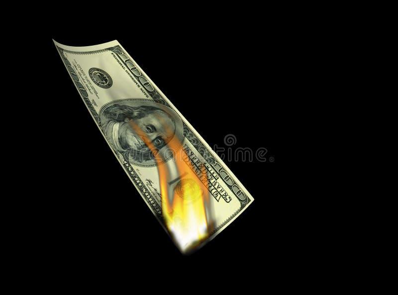 美元100射击火焰危机- 3d翻译 免版税库存图片