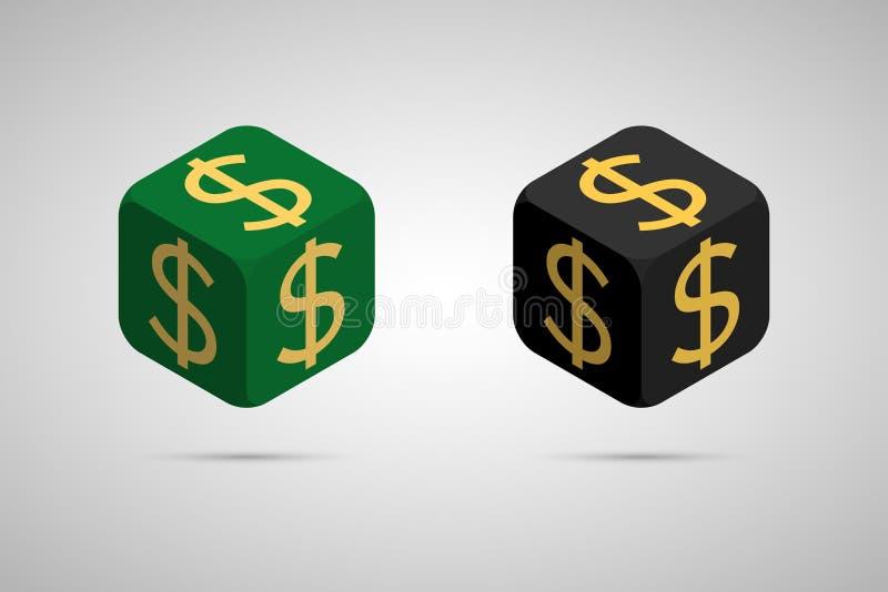美元 绿色和黑美元立方体 库存例证
