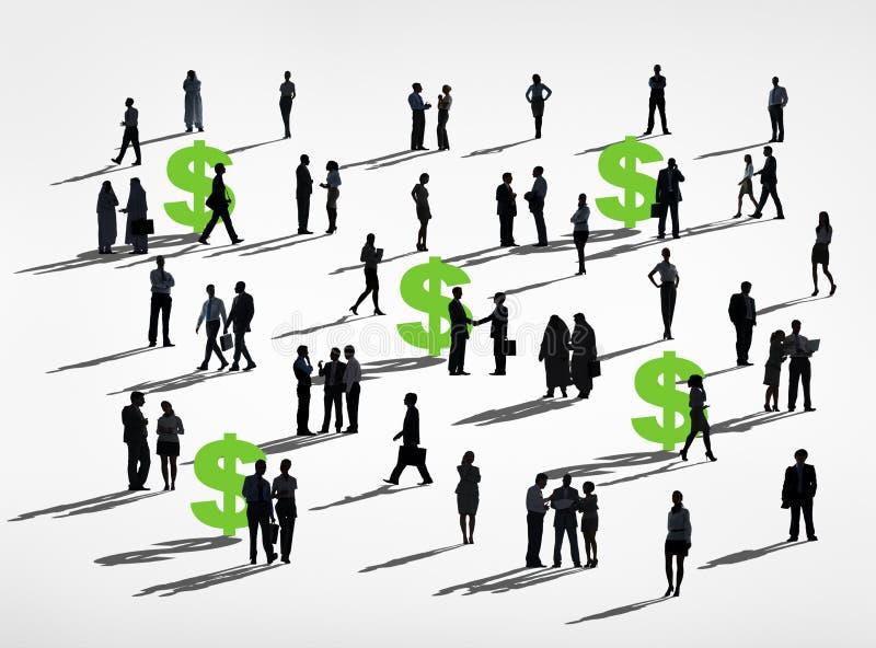 美元绿色工商业界财政合作概念 库存例证