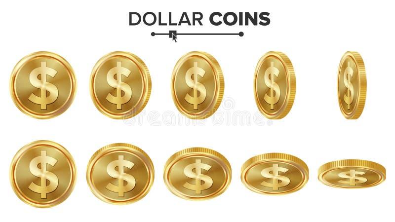 美元3D金币传染媒介集合 可实现轻快优雅的例证 轻碰不同的角度 金钱前面边 3d概念投资查出的翻译 皇族释放例证