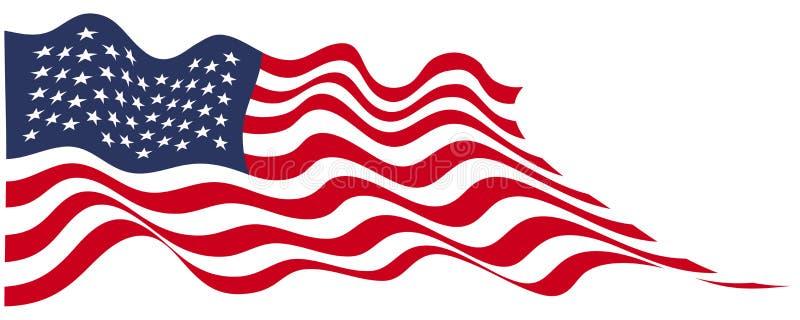 美利坚合众国旗子在白色背景传染媒介的波浪飞行 向量例证